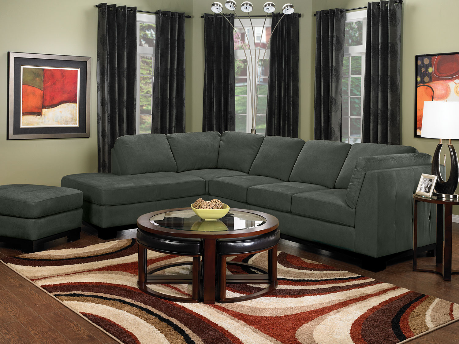 Oakdale 3 Piece Microsuede Left Facing Sectional Grey The Brick