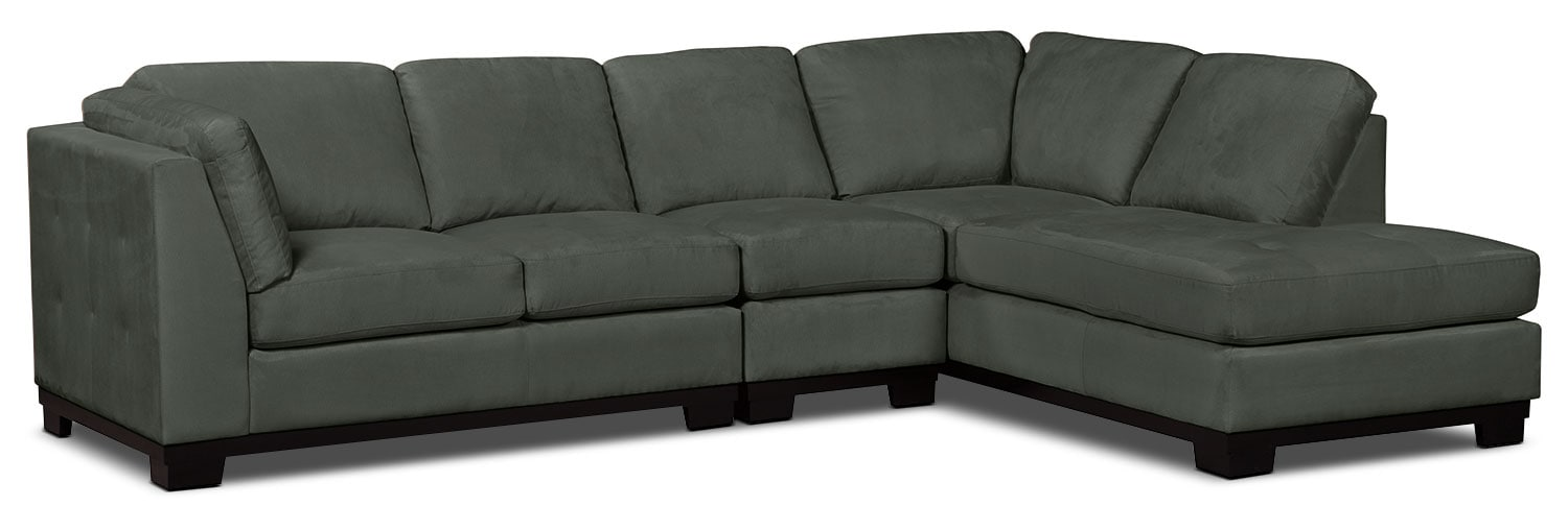 Oakdale 3-Piece Microsuede Right-Facing Sectional – Grey