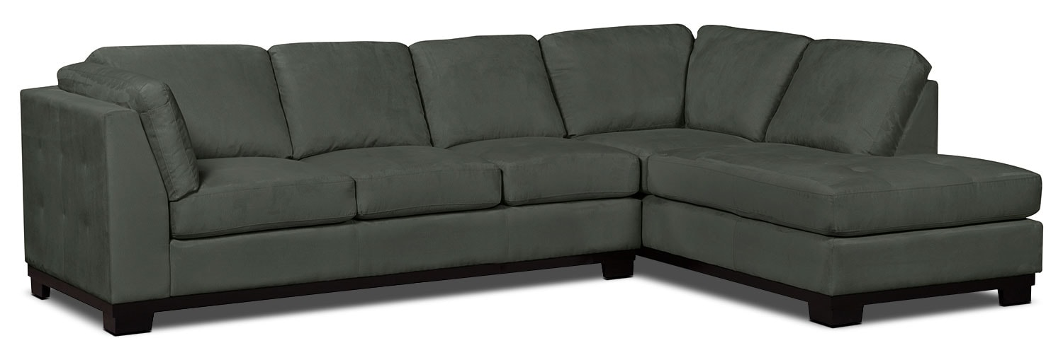 Oakdale 2 piece microsuede right facing sectional with for Grey microsuede sectional sofa