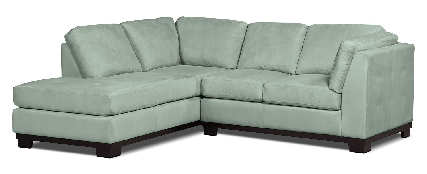 Living Room Furniture - Oakdale 2-Piece Microsuede Left-Facing Sectional – Aqua