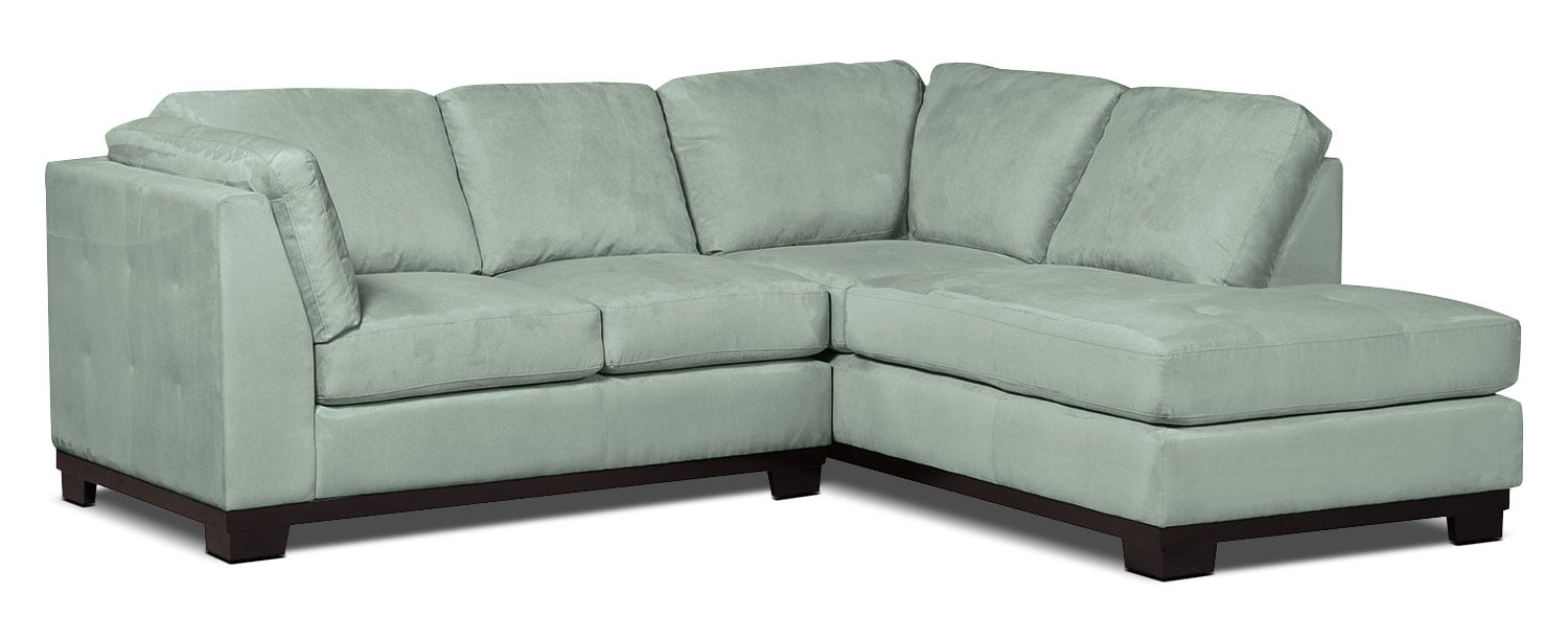 Living Room Furniture - Oakdale 2-Piece Microsuede Right-Facing Sectional – Aqua