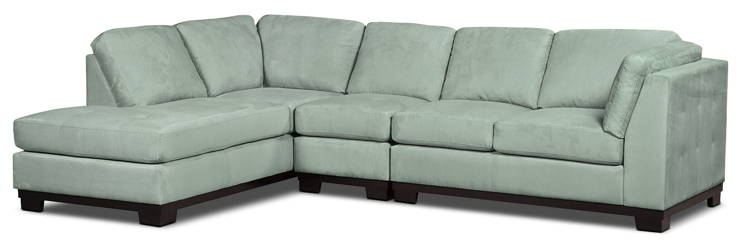 Living Room Furniture - Oakdale 3-Piece Microsuede Left-Facing Sectional – Aqua