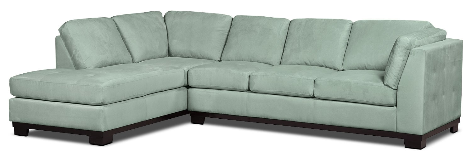 Living Room Furniture - Oakdale 2-Piece Microsuede Left-Facing Sectional with Sofa Bed – Aqua