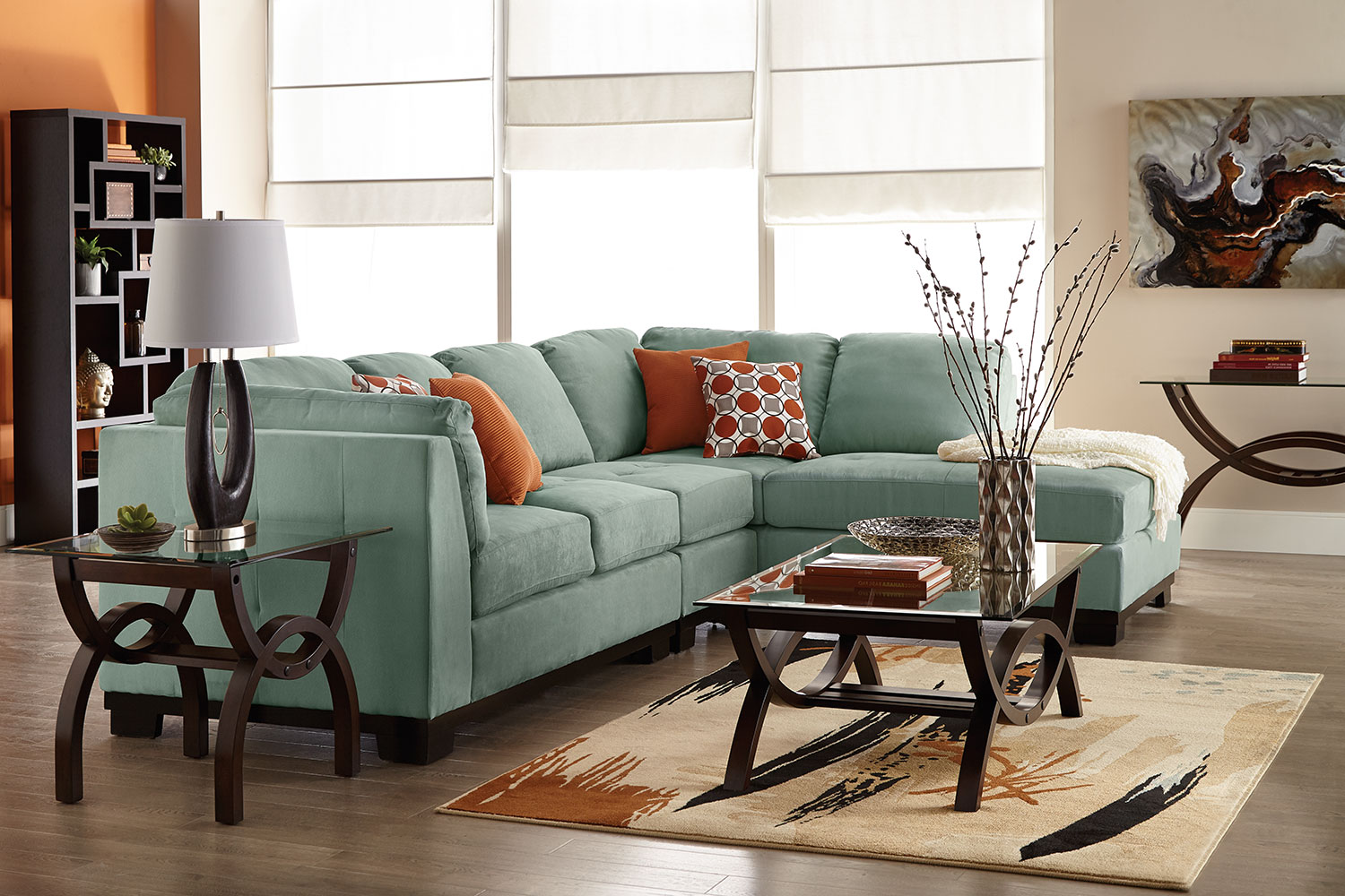 Oakdale 3 Piece Microsuede Right Facing Sectional Aqua The Brick