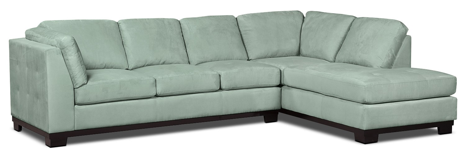 Oakdale 2-Piece Microsuede Right-Facing Sectional with Sofa Bed – Aqua