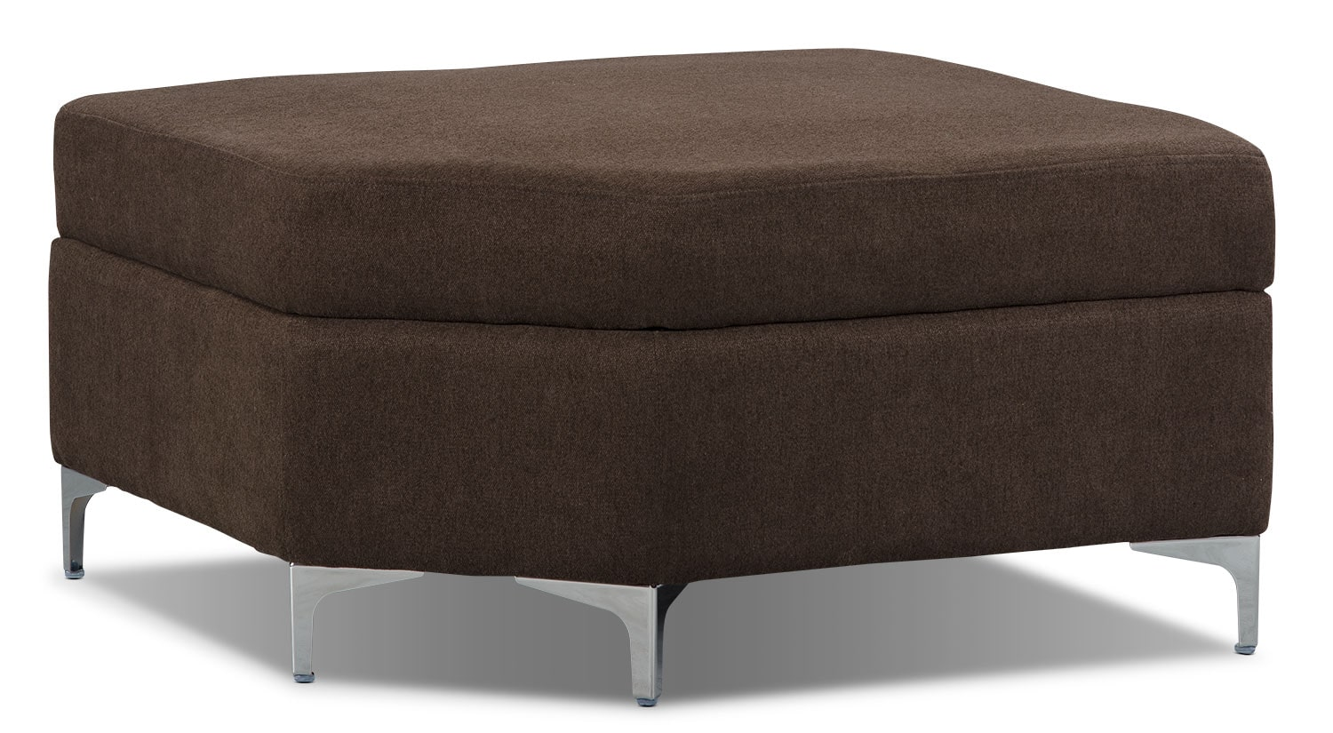 London Linen-Look Fabric Storage Ottoman – Chocolate