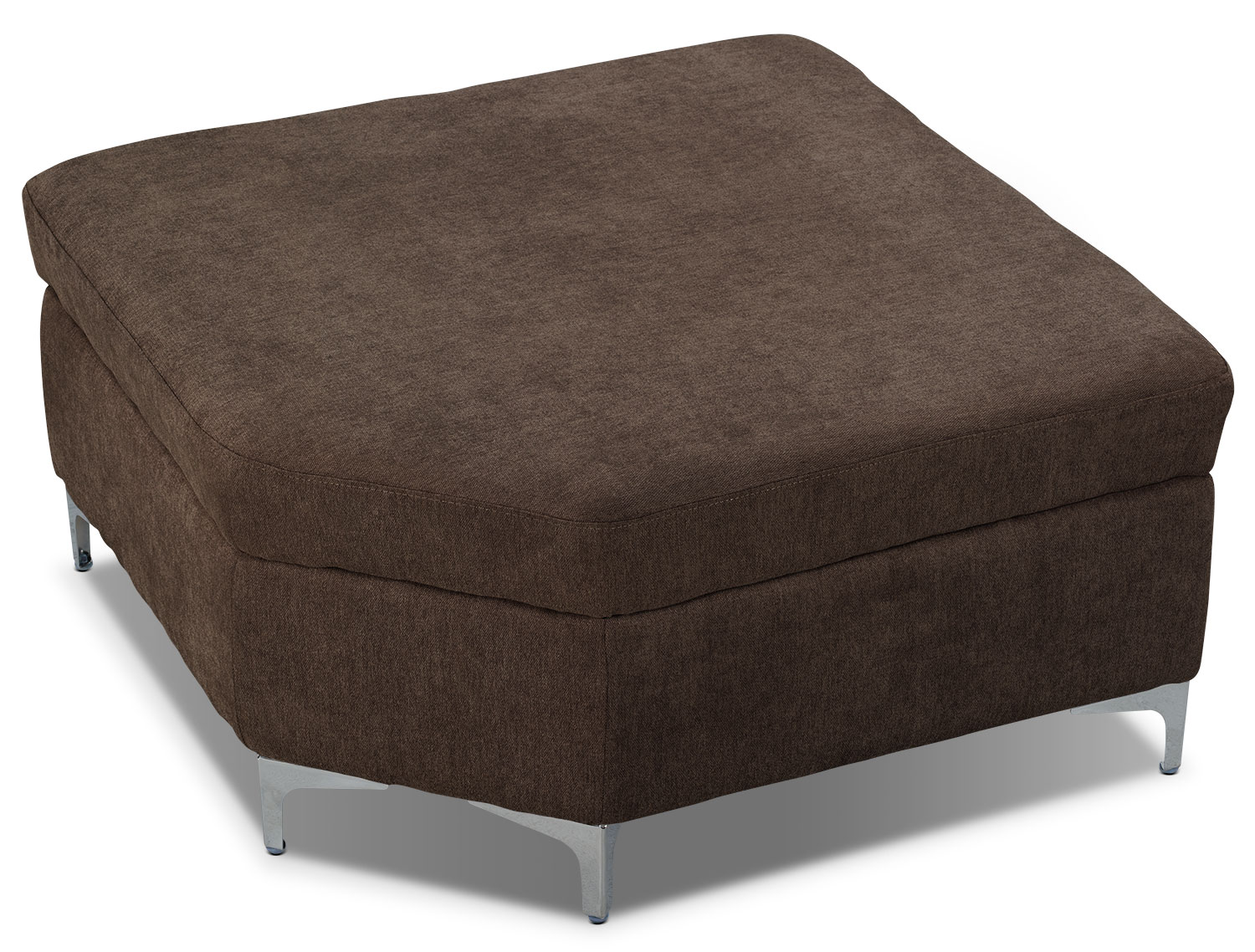 London linen look fabric storage ottoman chocolate the for Storage ottomans fabric