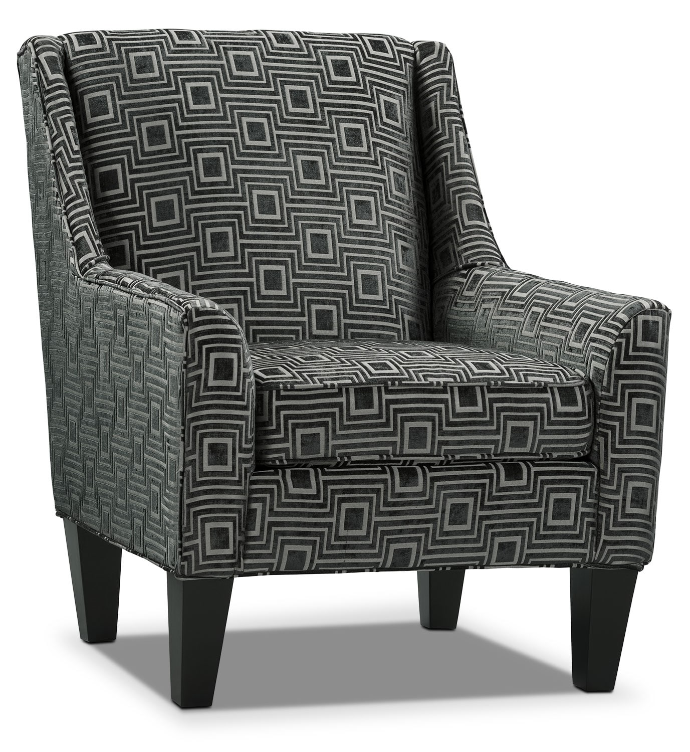 Living Room Furniture - Urbana Voided Chenille Accent Chair - Black/Light Grey