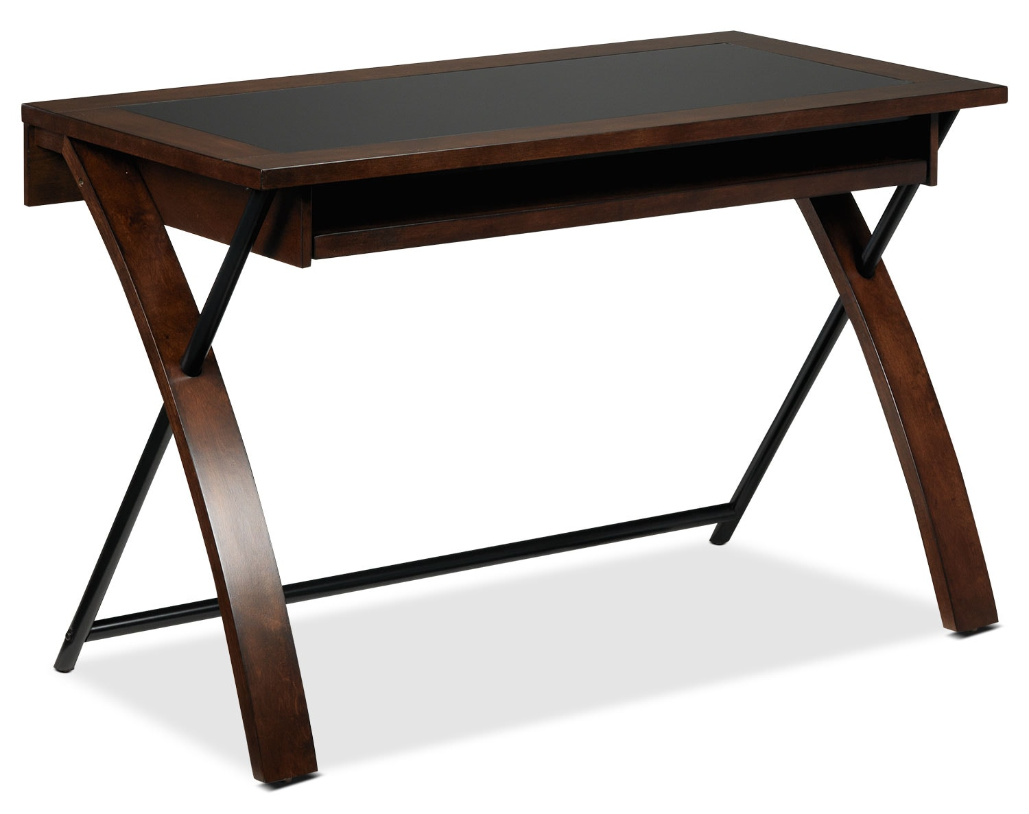 Home Office Furniture - Zeta Computer Desk - Black and Brown Cherry