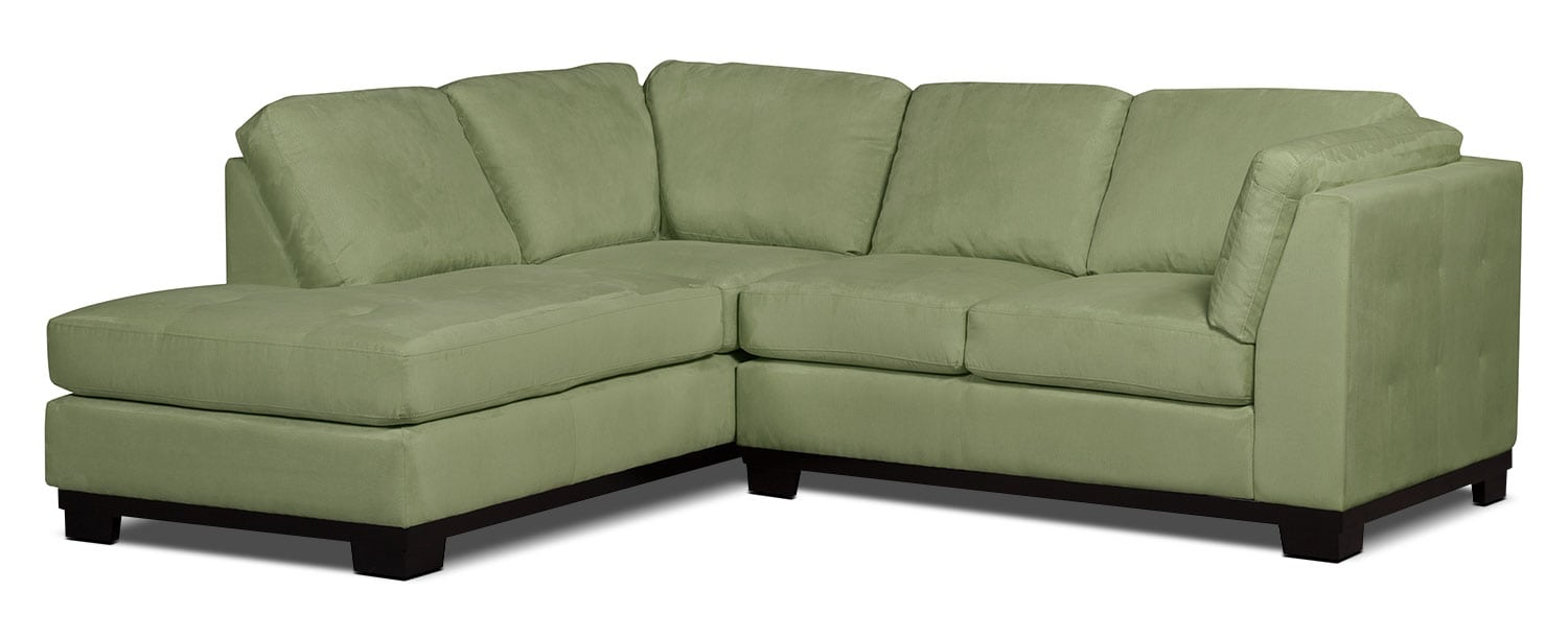 Living Room Furniture - Oakdale 2-Piece Microsuede Left-Facing Sectional – Pear