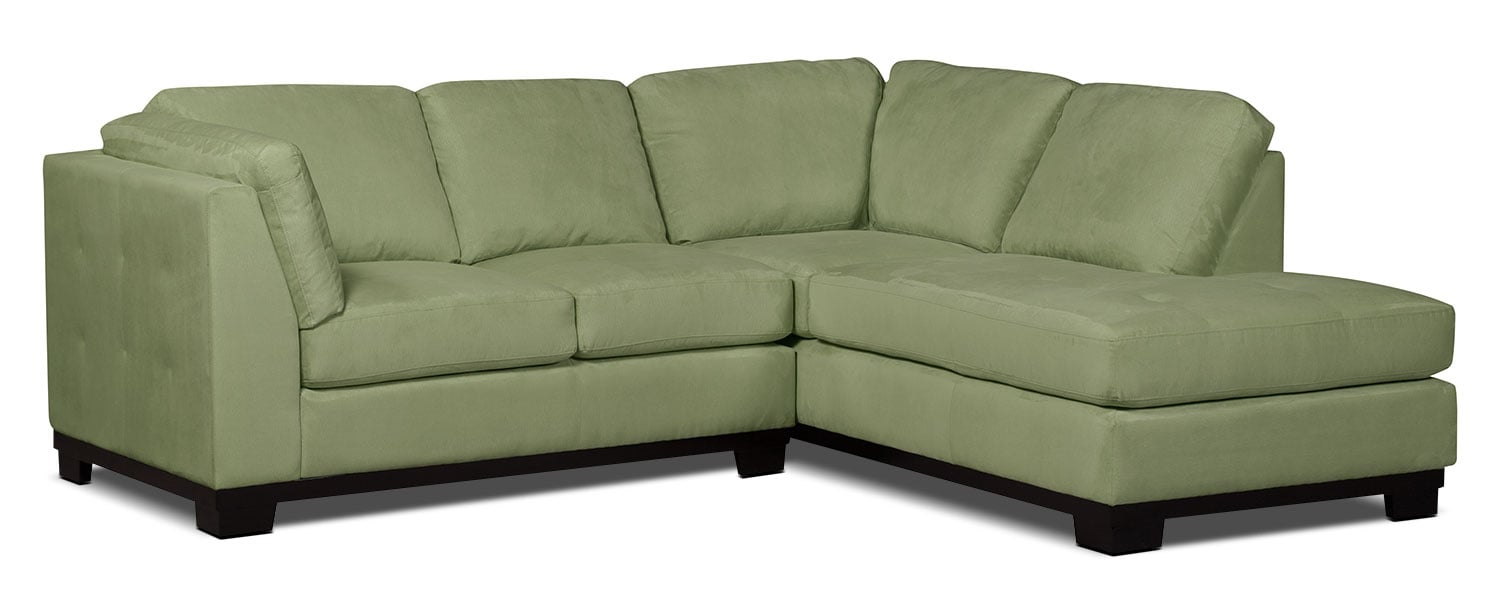 Oakdale 2-Piece Microsuede Right-Facing Sectional – Pear