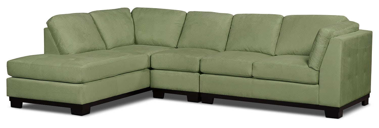 Oakdale 3-Piece Microsuede Left-Facing Sectional – Pear