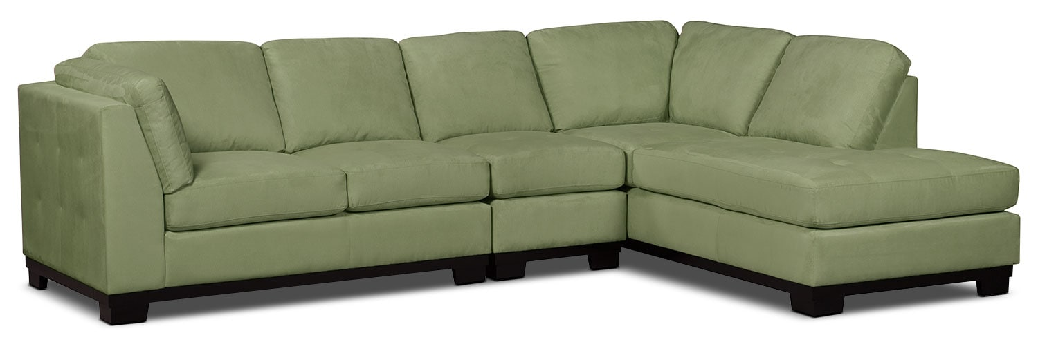 Oakdale 3-Piece Microsuede Right-Facing Sectional – Pear