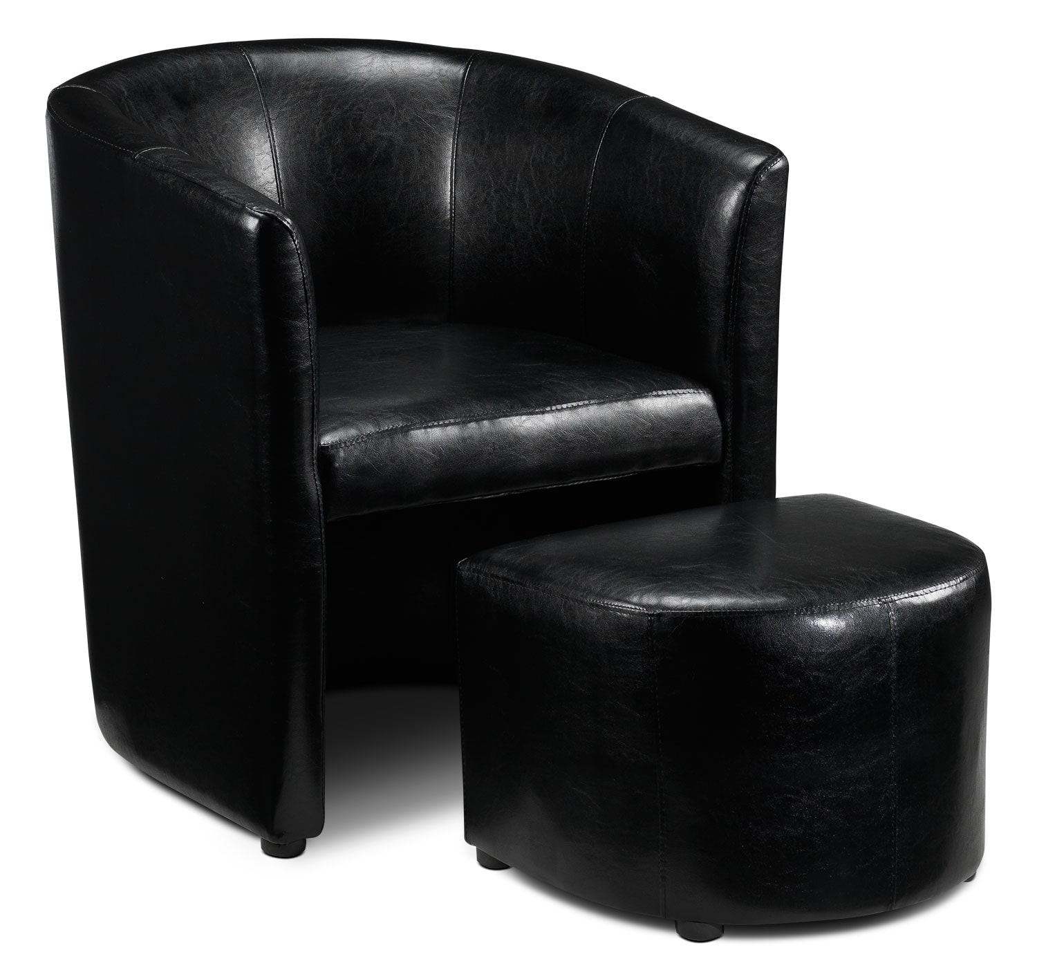 Elton Tub Chair and Ottoman - Black