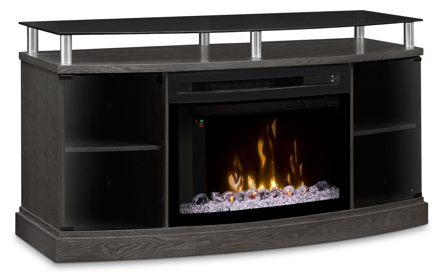 "Windham 53"" TV Stand with Multi-Fire XD™ Glass Ember Firebox – Silver"