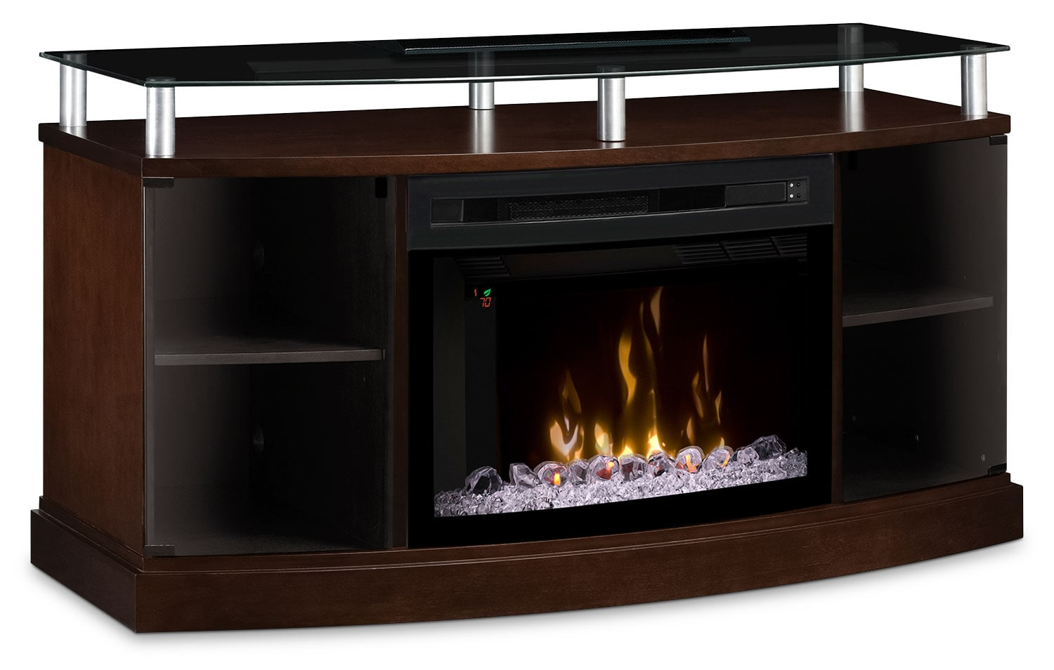 "Entertainment Furniture - Windham 53"" TV Stand with Multi-Fire XD™ Glass Ember Firebox – Mocha"