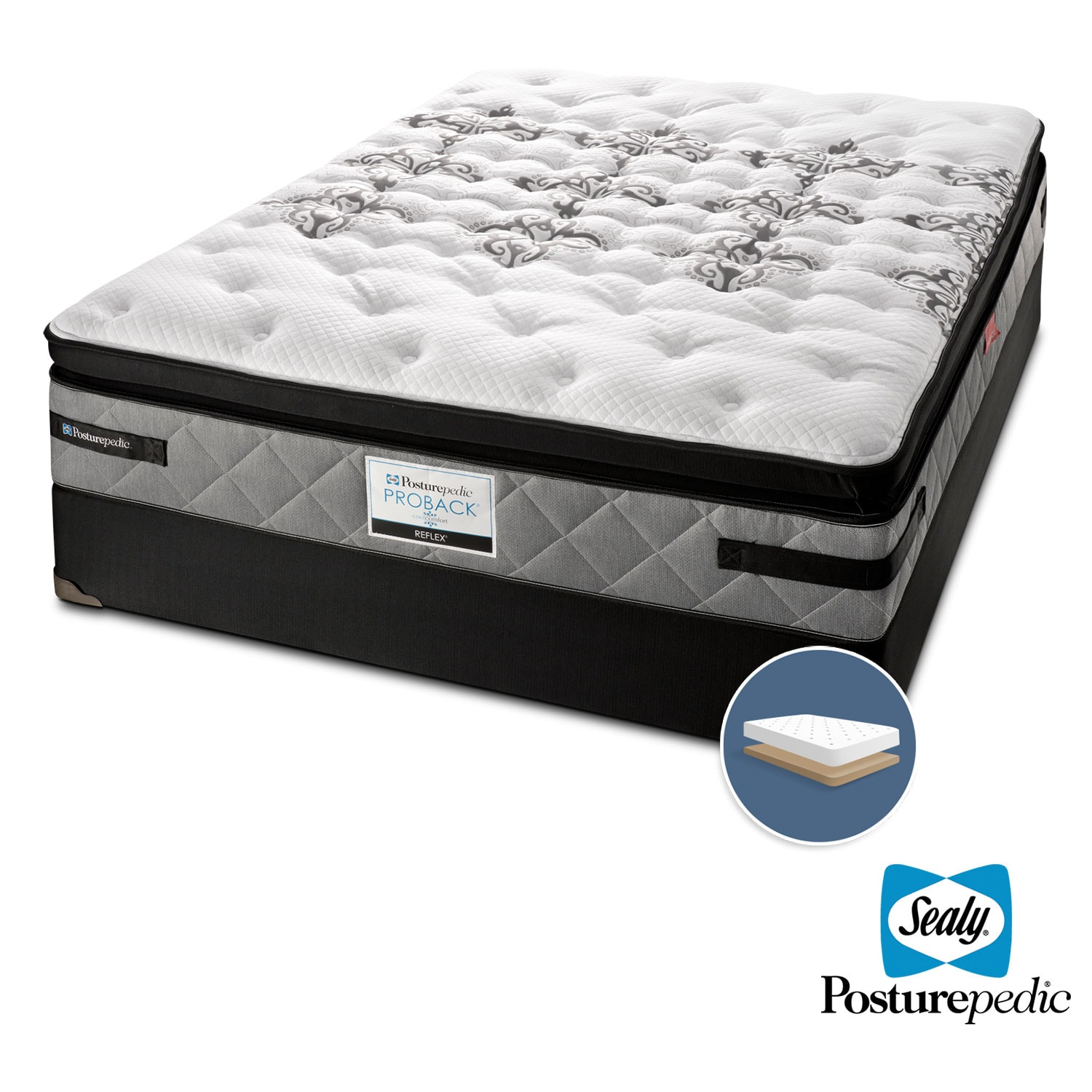 Mattresses and Bedding - Sealy Myth Plush Queen Mattress and Low-Profile Boxspring Set