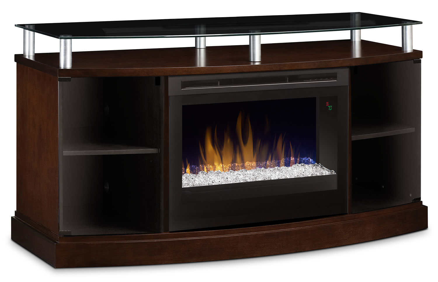 "Windham 53"" TV Stand with Glass Ember Firebox – Mocha"