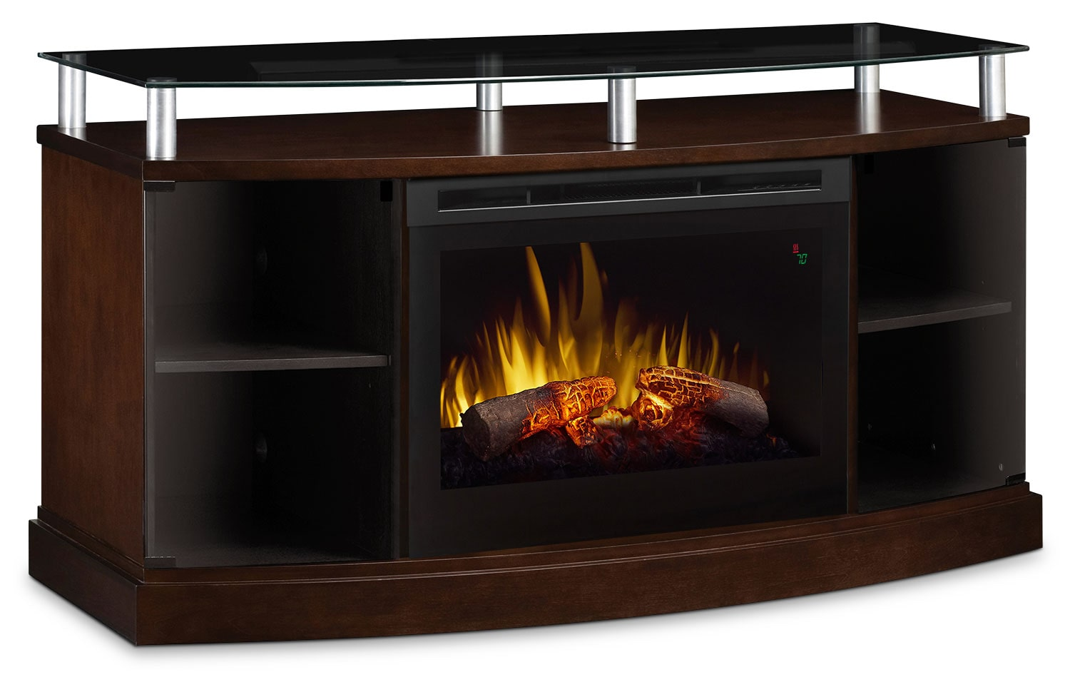"Windham 53"" TV Stand with Log Firebox – Mocha"