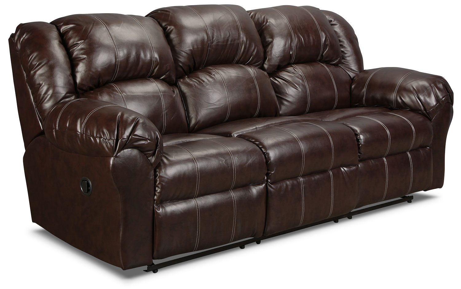 Decker reclining sofa brown levin furniture for Couch 0 finance
