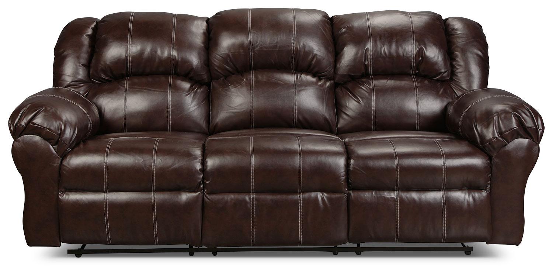 Living Room Furniture - Decker Reclining Sofa - Brown