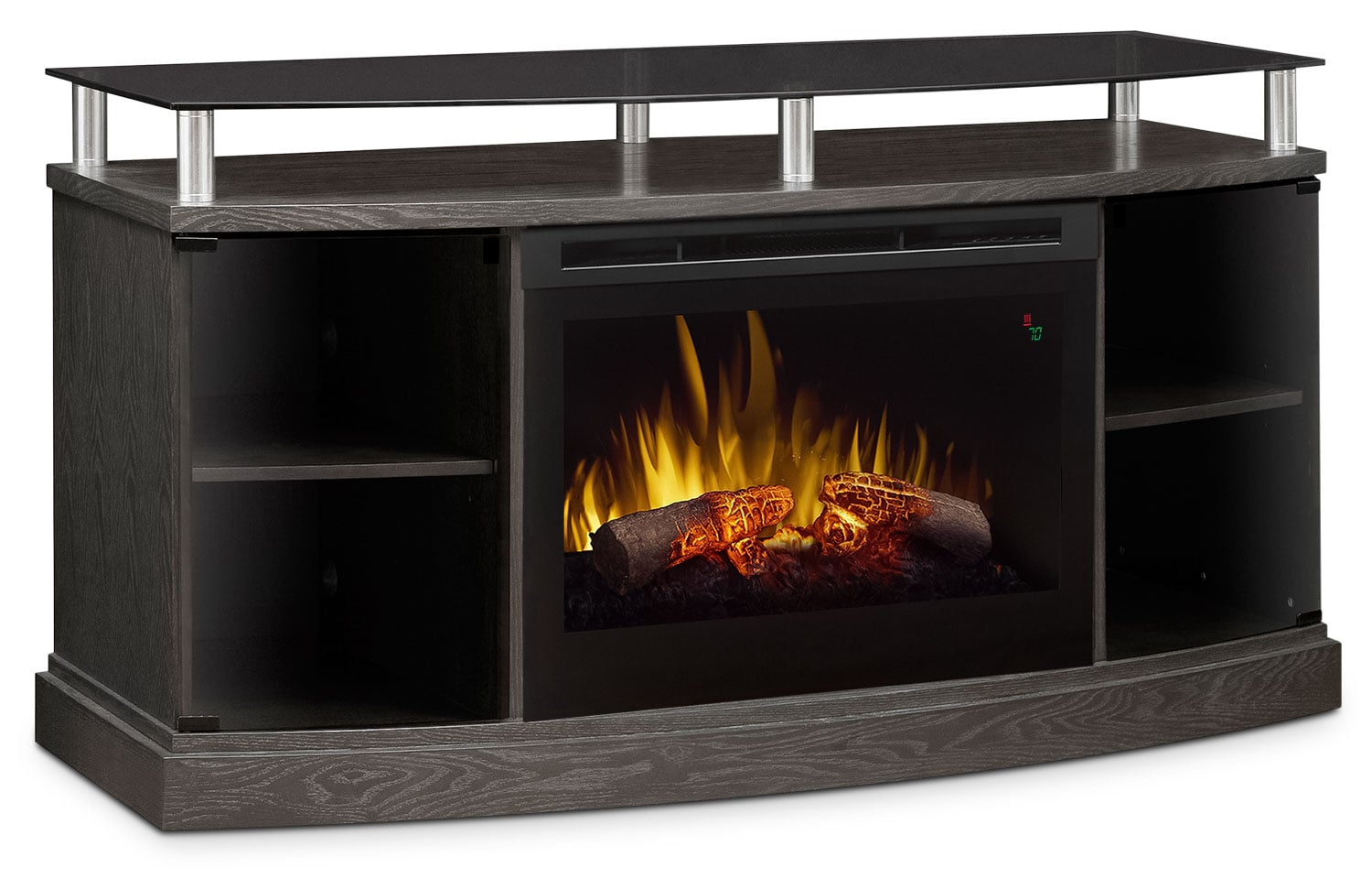 "Windham 53"" TV Stand with Log Firebox – Silver"