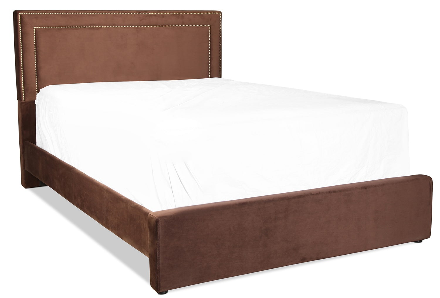 Amber queen upholstered bed chocolate levin furniture for Bedroom furniture upholstered beds