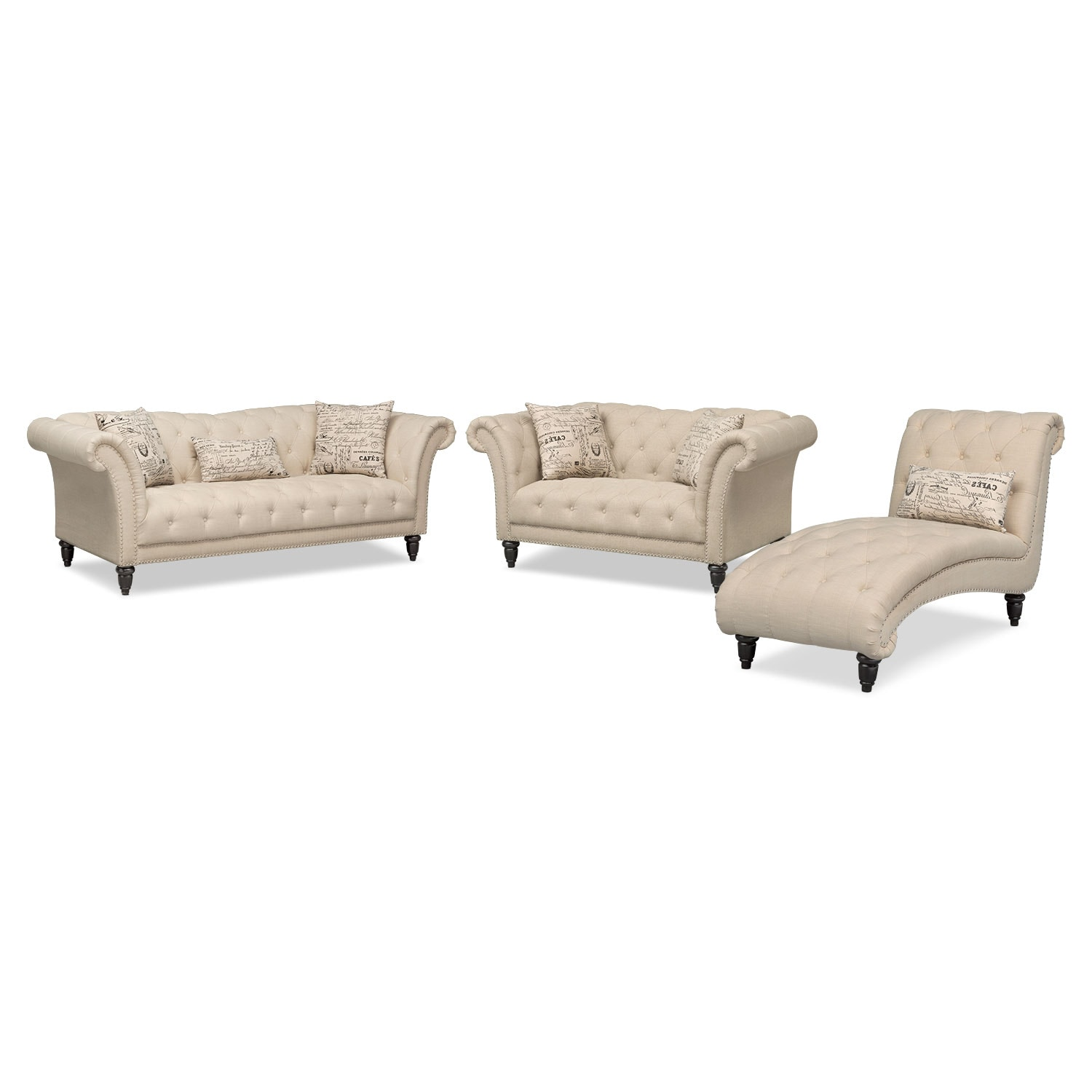 Marisol sofa loveseat and chaise set beige value city for Chaise lounge couch set