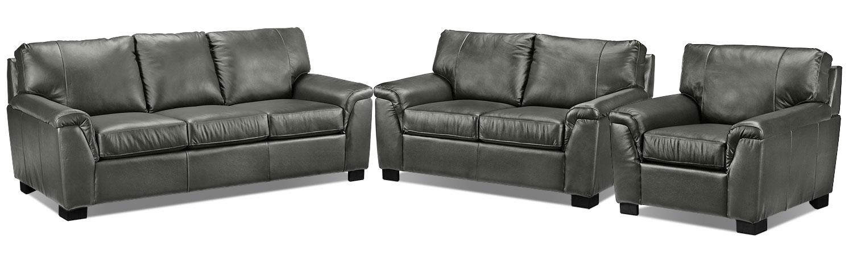 Reynolds Sofa, Loveseat and Chair Set - Dark Grey