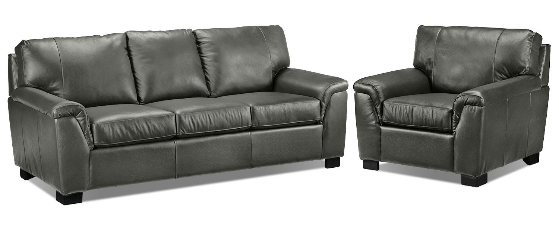 Reynolds Sofa and Chair Set - Dark Grey