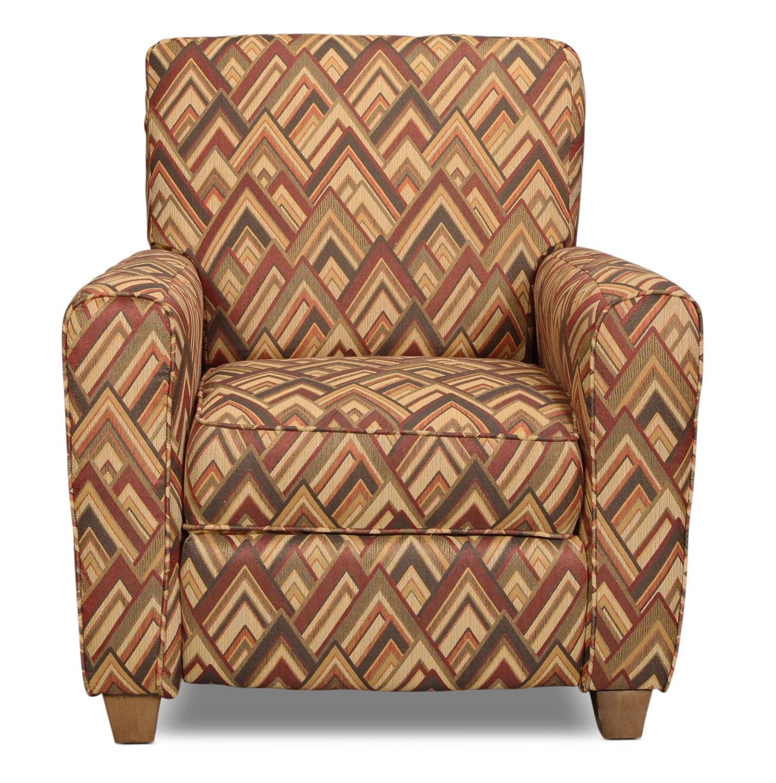 Living Room Furniture - Cooper Recliner - Cocoa Chevron