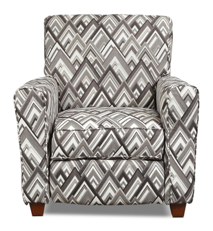 Living Room Furniture - Cooper Push-Back Recliner - Pewter Chevron