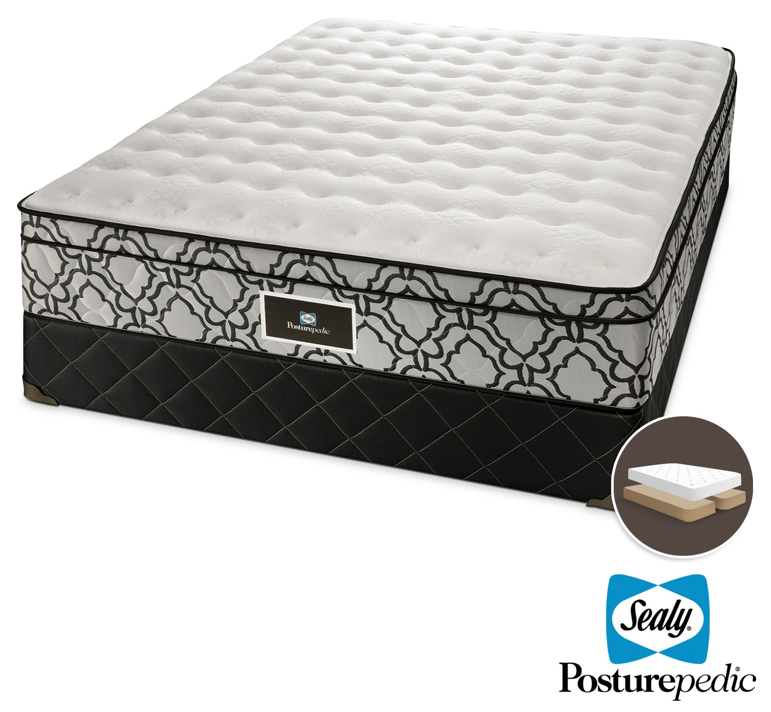 Mattresses and Bedding - Sealy Colosseum Cushion Firm Queen Mattress and Split Boxspring Set
