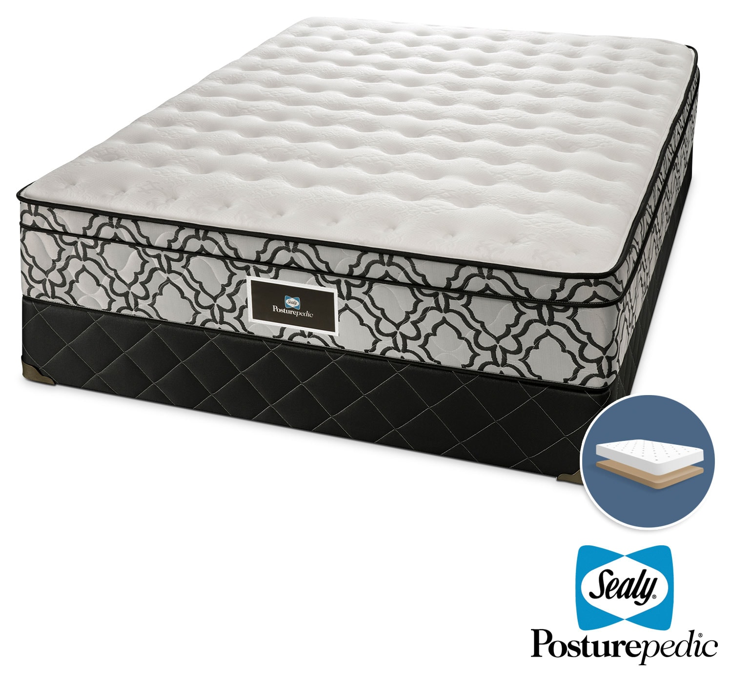 Mattresses and Bedding - Sealy Colosseum Cushion Firm Queen Mattress and Low-Profile Boxspring Set