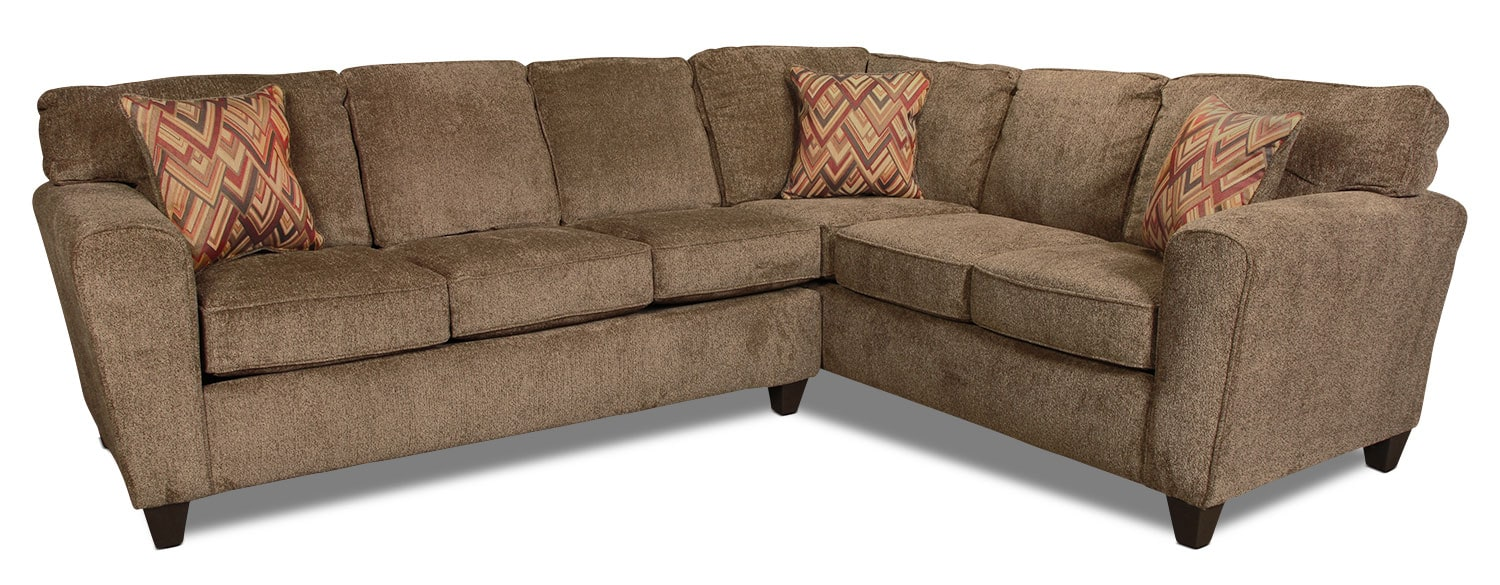 Living Room Furniture - Cooper 2-Piece Sectional - Cocoa
