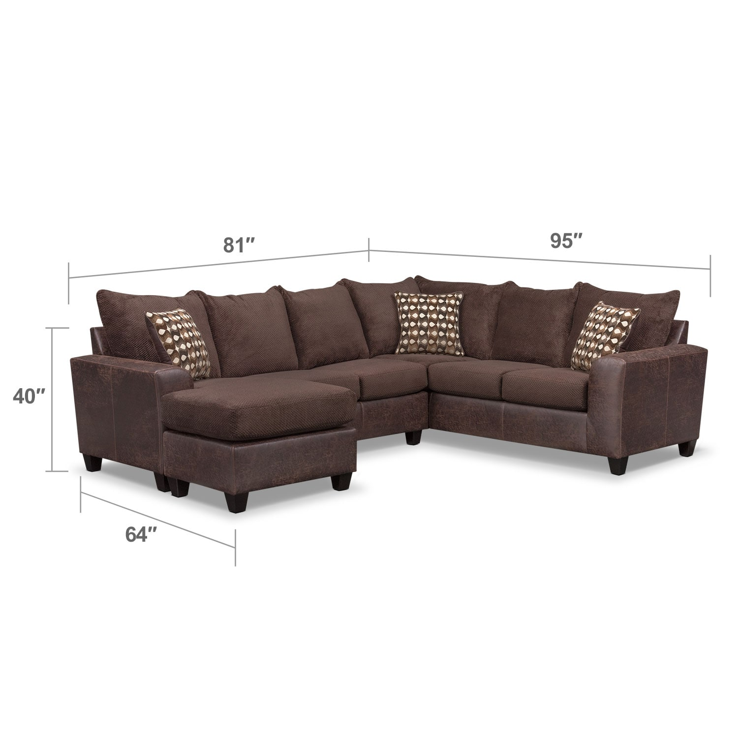 Brando 3 piece sectional with modular chaise chocolate for 3 piece sectional sofas with chaise