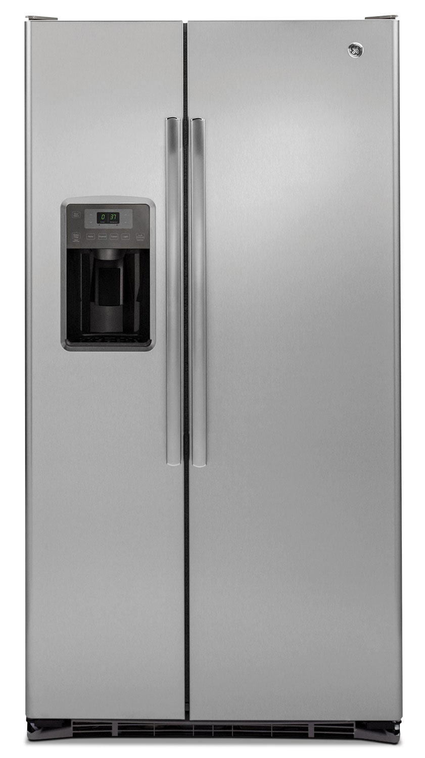 GE 21.9 Cu. Ft. Counter-Depth Side-by-Side Refrigerator – GZS22DSJSS