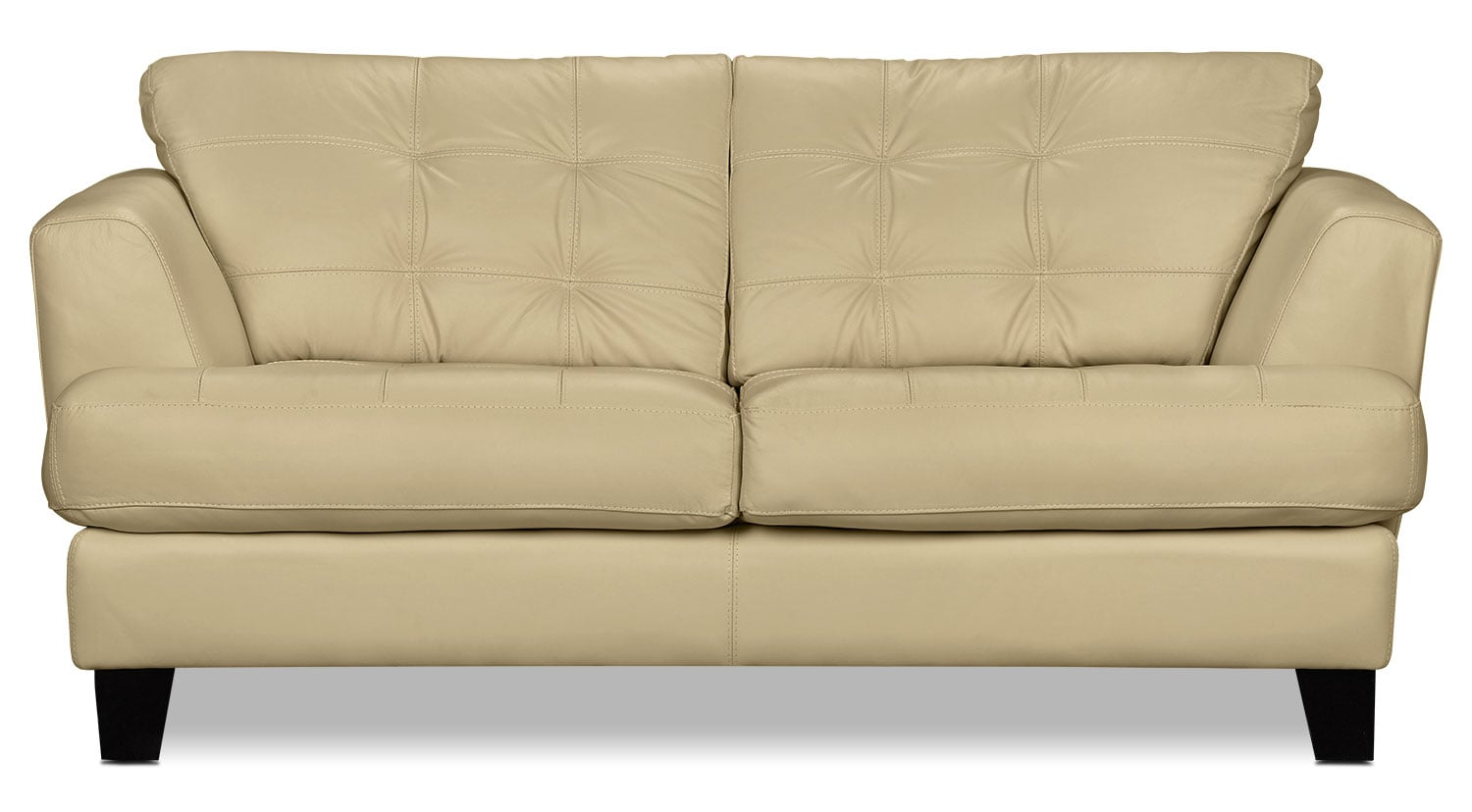Living Room Furniture - Avenue Genuine Leather Loveseat - Ivory