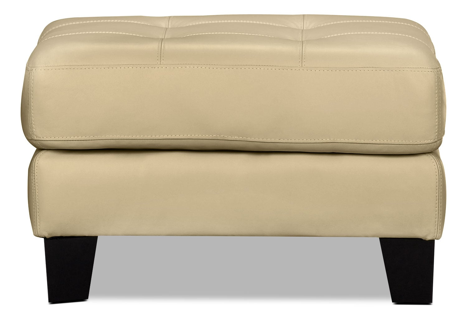 Living Room Furniture - Avenue Genuine Leather Ottoman - Ivory