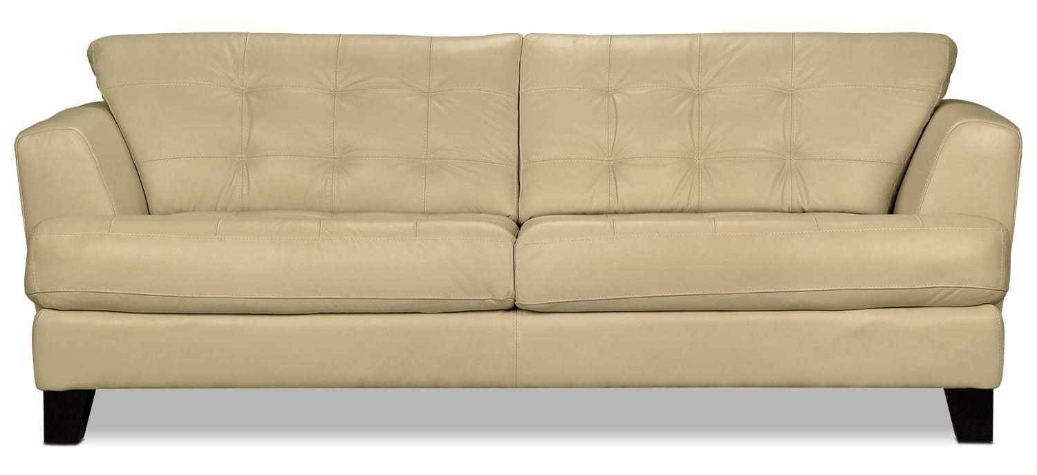 Living Room Furniture - Avenue Genuine Leather Sofa - Ivory