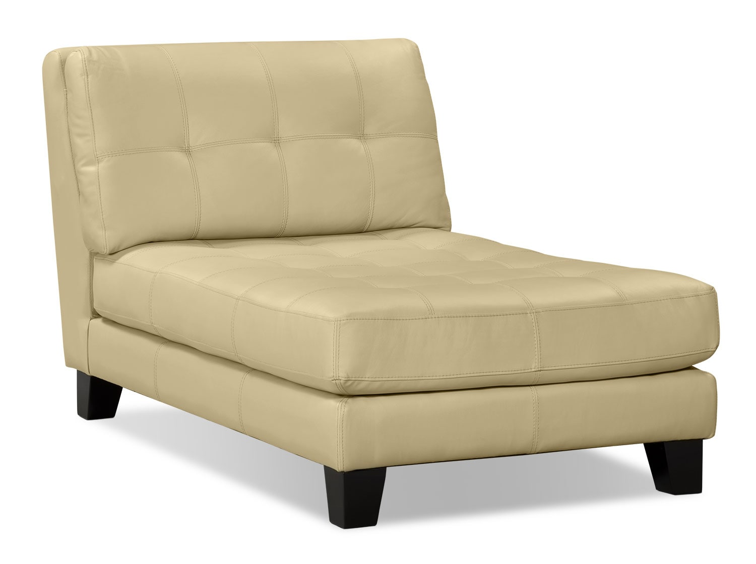 Living Room Furniture - Avenue Genuine Leather Chaise - Ivory