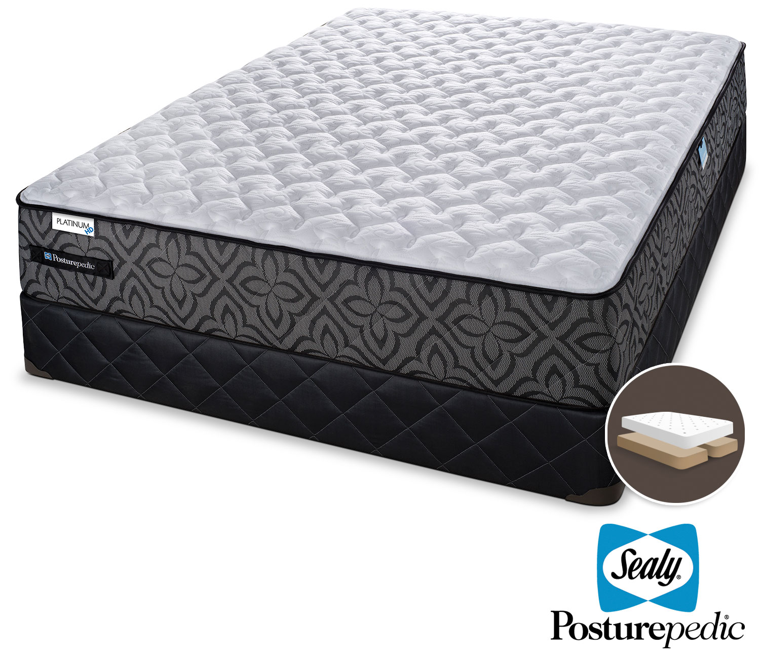 Sealy Posturepedic 1 K Extra Firm King Mattress and Split Boxspring Set