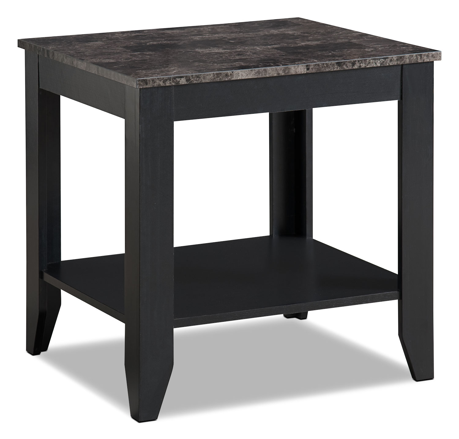 Roma 3 piece coffee and two end tables package black for Coffee tables 3 piece