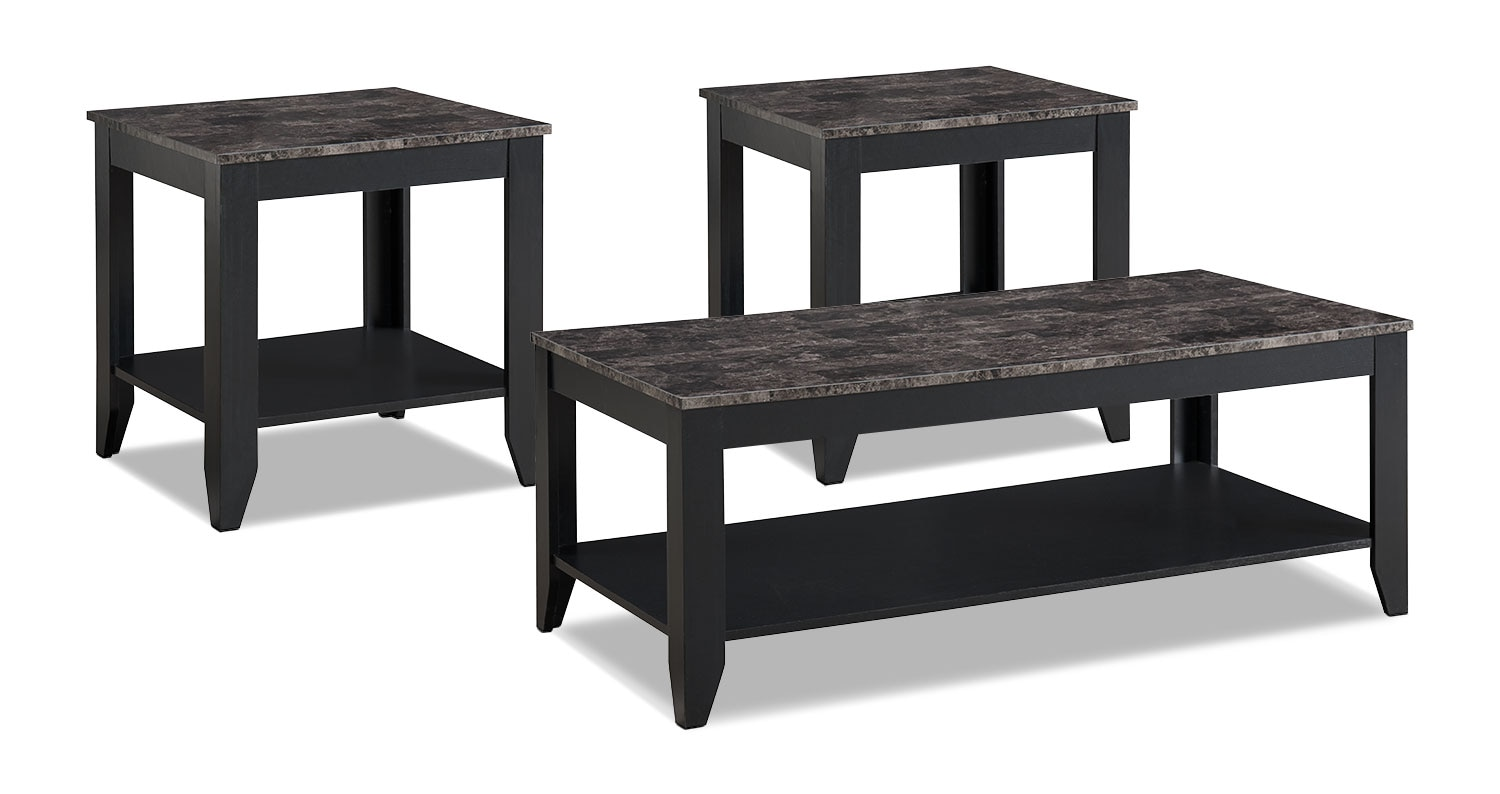 Roma 3 piece coffee and two end tables package black for Meuble brick sherbrooke