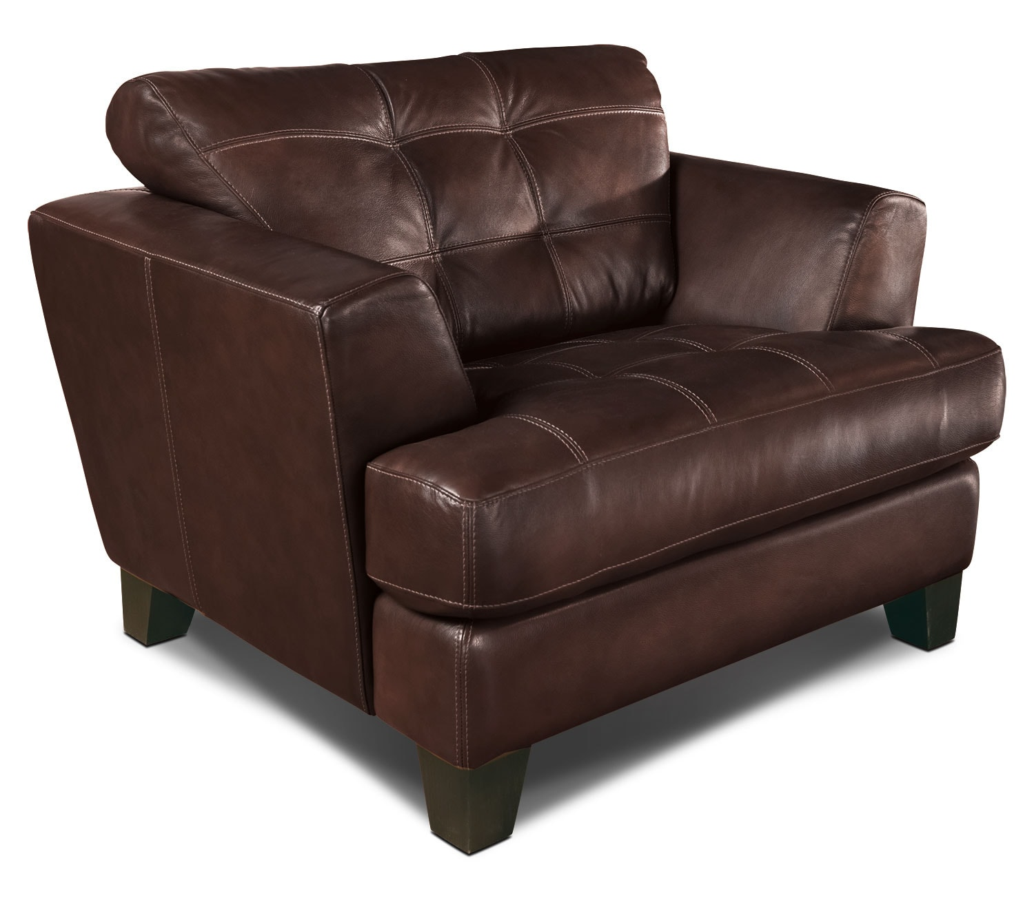 Living Room Furniture - Avenue Genuine Leather Chair - Brown
