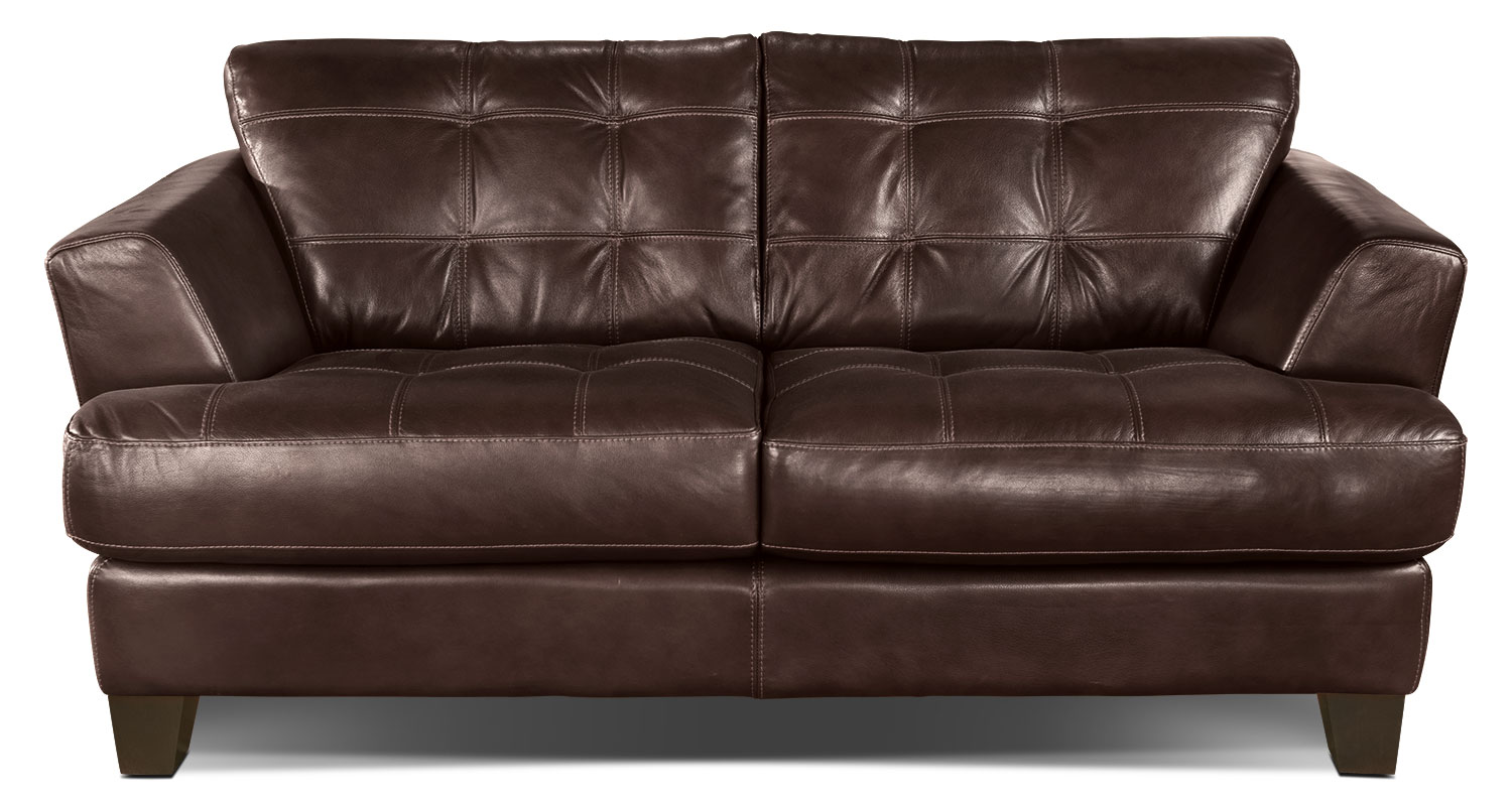 Avenue Genuine Leather Loveseat - Brown