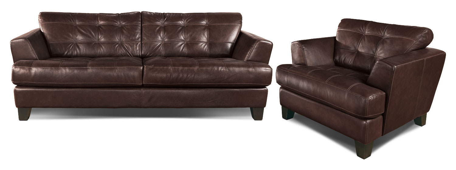 The Avenue Genuine Leather Brown Upholstery Collection