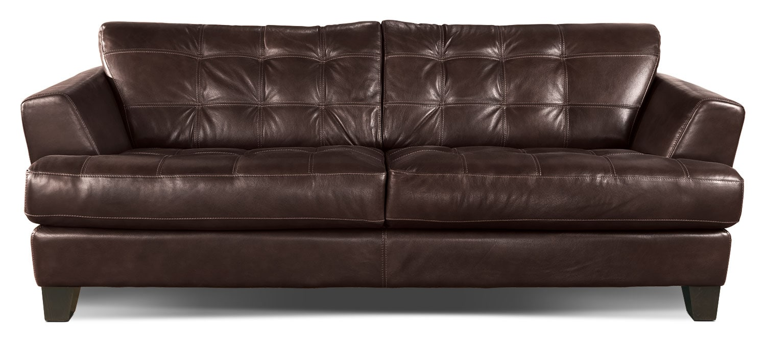 Living Room Furniture - Avenue Genuine Leather Sofa - Brown