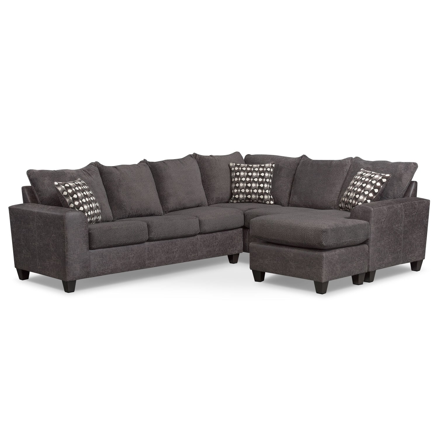 Brando 3 piece sectional with modular chaise smoke for 3 piece sectional sofa with chaise