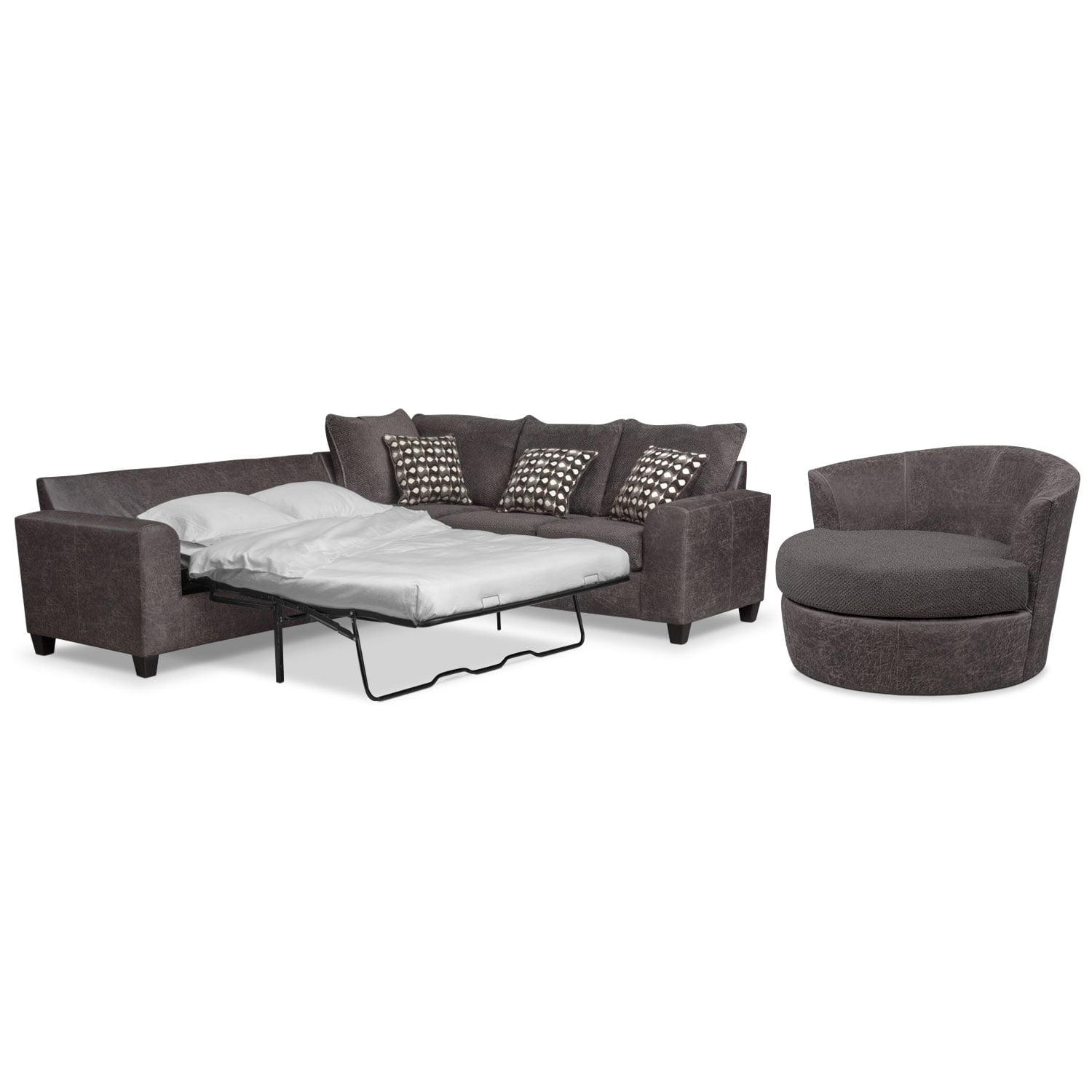 Brando 3 piece sectional with modular chaise smoke for Andrea 2 piece sleeper chaise